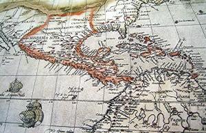 Antoguo mapa de América conservado en El Escorial (Madrid).