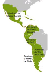Virreinatos de la América española hacia 1810