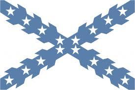 Diseño en azul con estrellas de la Cruz de San Andrés, enseña emblemática de la Hispanidad