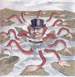 Caricatura del imperialismo inglés, como un pulpo que controla el mundo, de finales del siglo XIX