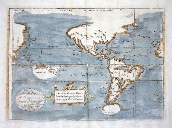 """""""Descripcion de la Yndias Ocidentales"""", mapa de principios del siglo VII de Antonio de Herrera y Tordesillas."""