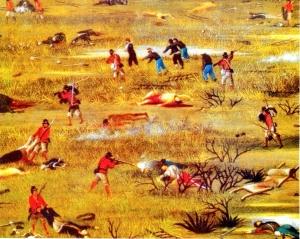 """Detalle del cuadro """"Después de la batalla de Curupaytí"""" (1893), de Cándido López. La Guerra de la Triple Alianza, liderada por Brasil a instancias de Gran Bretaña, benefició los intereses expansionistas  brasileños y destruyó la estructura económica y a la mayor parte de la población masculina del Paraguay."""