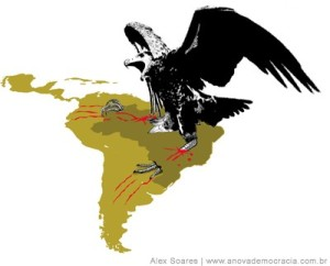 Brasil caricaturizado como la nueva águila imperialista dispuesta a dominar a la América de habla española