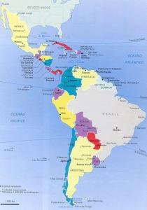 Hispanoamérica en la actualidad, fraccionada en varios Estados independientes y débiles, producto del imperialismo anglo-estadounidense. Tanto Estados Unidos como Brasil ampliaron su territorio a costa de Hispanoamérica.