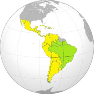 Brasil (en verde) e Hispanoamérica (en amarillo). Si la América de habla española estuviera unida, sería una superpotencia con el doble de población que Brasil y costas en ambos océanos.
