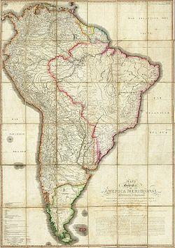 América del Sur hacia finales del siglo XVIII. Al igual que Estados Unidos, Brasil expandió enormemente su territorio a costa de Hispanoamérica, que al estar dividia en pequeños Estados y luchas internas, no pudo defenderse.