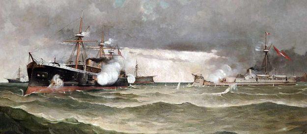 Combate naval de Angamos, óleo de Teófilo Castillo Guas (1857-1922)