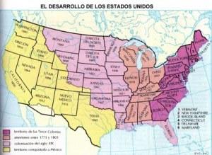 Mapa que muestra la expansión territorial de Estados Unidos. En color amarillo, el territorio que usurpó a México mediante una guerra de agresión (1845-1848).