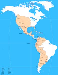 Hispanoamérica en 1800, durante la época del Estado Indiano (o reino de Indias). La parte mayor de América, tanto en el norte como en el sur, pertenecía entonces a la América hispana.