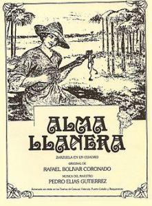 Portada de la primera edición del libreto de Alma llanera, que escribió Rafael Bolívar Coronado.