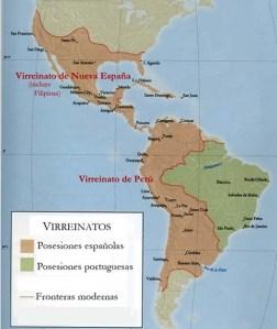 La América española y la portuguesa a fines del siglo XVIII. Obsérvese la enorme extensión de Hispanoamérica (en color marrón), que si hoy siguiera unida sería la mayor nación del mundo.