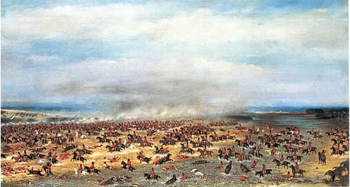 representación de la batalla de Tuyutí, por Cándido López (1866). La Guerra del Paraguay, promovida por Brasil, fue devastadora para el Paraguay, que perdió al 90% de su porblación masculina adulta.