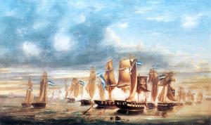 Batalla de Juncal (Guerra del Brasil), óleo de José Murature (1865).