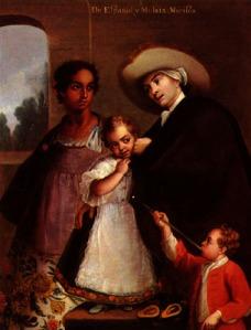 """""""Pintura de Castas"""", óleo de Miguel Cabrera (hacia el año 1763), donde se muestra a un español jugando con su hija, nacida de su unión con una mujer mulata. España promovió el mestizaje en América, un fenómeno amplísmo en toda la América hispana, regulado incluso por la legislación de Indias."""