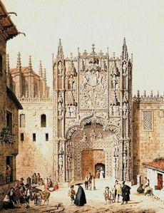 Pórtico del Colegio de San Gregorio de Valladolid, según una litografía romántica del siglo XIX. Aquí tuvo lugar la célebre controversia que enfrentó a Bartolomé de las Casas y a Juan Ginés de Sepúlveda, entre 1550 y 1551.