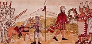"""Encuentro entre Hernán Cortés y Moctezuma, miniatura de """"Historia de las Indias"""", por Diego Durán (1579). Biblioteca Nacional, Madrid."""