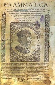 Portada de Grammatica Antonii Nebrissensis, primera gramática del español, escrita por Antonio de Nebrija y publicada en 1492