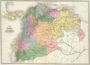 """La República de Colombia en 1824. La """"Gran Colombia"""" fue concebida como la primera etapa en el proceso de unificación de toda Hispanoamérica, ideado en un principio por Francisco de Miranda."""