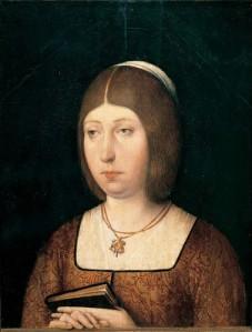 """La reina española Isabel la Católica (1451-1504), en un óleo de Juan de Flandes, hacia 1485, Museo del Prado. Isabel escribió en su testamento: """"suplico al Rey mi Señor muy afectuosamente, y encargo, y mando á la dicha mi hija, y al dicho Principe su marido, que asi lo hagan, y cumplan, é que este sea su principal fin, y que en ello pongan mucha diligencia: y no consientan ni dén lugar, que los Indios vecinos, y sus Moradores de las dichas Islas, y Tierra Firme ganadas, é por ganar, reciban agravio alguno en sus personas, ni bienes: mas manden que sean bien y justamente tratados"""""""