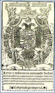 Portada de las Leyes Nuevas de 1542, que pretendían mejorar las condiciones de los indígenas mediante y abolió las encomiendas.