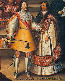 Martín García de Loyola y su esposa, la princesa inca Beatriz Clara Coya, hija de Sayri Túpac y Cusi Huarcay. Lienzo del siglo XVII, Iglesia de la Compañía, Cuzco.