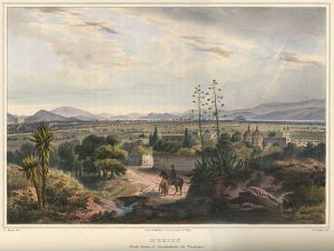 México, visto desde el arzobispado de Tacubaya (1836), litografía de Frédérick Mialhe, a partir de un diseño original de Carl Nebel.