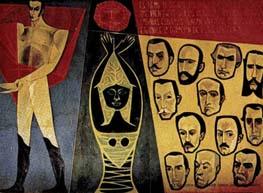 Detalle del mural de Guayasamín, en el que aparecen Bolívar (a la izquierda) y los principales pensadores hispanoamericanistas (a la derecha).