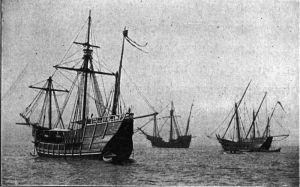 Réplica de las carabelas Pinta y Niña, capitaneadas por la nao Santa María, enviadas a la Exposición de Chicago de 1893.