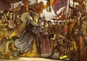 La Reina Isabel de Inglaterra nombrando caballero al pirata Francis Drake, a bordo del navío Golden Hind.