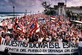 Manifestación multitudinaria en Puerto Rico en defensa del español (enero de 1993).