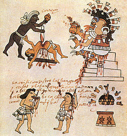 Sacrificios humanos practicados por tribus indígenas precolombinas. Códice Tudela, Museo de América (Madrid).