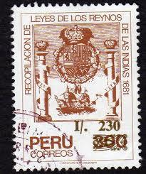 Imagen conmemorativa de las Leyes de los Reynos de las Indias de 1681, en un sello de correos de Perú (1988)