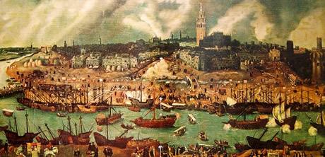 Vista de la ciudad de Sevilla en el siglo XVI, obra de Alonso Sánchez Coello. A través del río Guadalquivir llegaba la Flota de Indias, la flota de galeones que conectaba a la ciudad con los virreinatos americanos