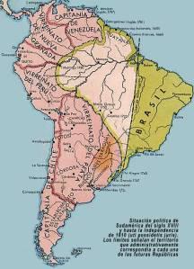 América del Sur en el siglo XVIII. Al igual que hizo Estados Unidos en el Norte, Brasil amplió su territorio a costa de la América hispana (en color rosado en el mapa), a pesar de que esta era mucho más extensa al principio, acabó fragmentándose en favor del Brasil.