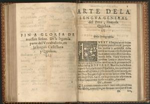 Arte de la lengua general del Perú, considerada la primera gramática de la lengua quechua, obra del sacerdote español Domingo de Santo Tomás publicada en valladolid en 1560.