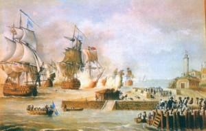 Representación del ataque a Cartagena de Indias por la armada inglesa en 1741, pintura de Luis Fernández Gordillo (1937). La batalla de Cartagena supuso una de las mayores derrotas militares de Inglaterra, cuidadosamente silenciada por numerosos historiadores británicos.