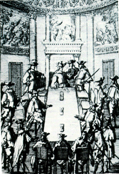 El Consejo de Indias, en un grabado del siglo XVII. El órgano más importante de la administración indiana (América y Filipinas), se formó en 1511 como una sección dentro del Consejo de Castilla para más tarde en 1524 conformarse como entidad propia.