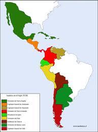 Gobernaciones de la América hispana en el siglo XVIII. La independencia destruyó la unidad política de la América de habla española, pero esta siguió siendo una misma Nación cultural por encima de fronteras políticas estatales.