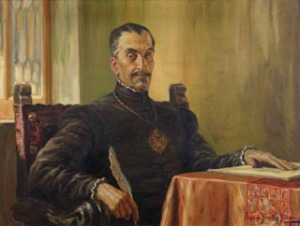 El Inca Garcilaso de la Vega escribiendo los Comentarios Reales (1933), obra de Francisco González Gamarra. Biblioteca del Club Nacional (Lima).