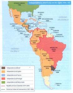 Las independencias americanas: Estados Unidos y Brasil conservaron su unidad y además ampliaron sus respectivos territorios, mientras que Hispanoamérica se fragmentó en pequeñas repúblicas, perdiendo su unidad de tres siglos.