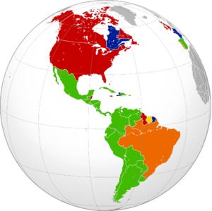 Las grandes lenguas de América. El español (en color verde) es la lengua más hablada: más del 40% de la población de todo el continente. Sin embargo, la posición de Hispanoamérica es débil y vulnerable porque no está constituida como uns sola Nación soberana e independiente, sino fragmentada en muchas repúblicas.