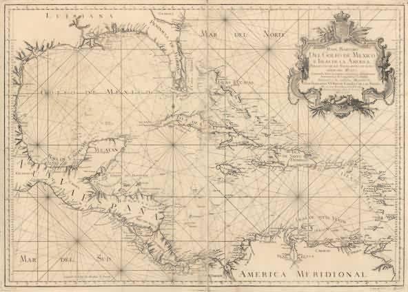 Mapa marítimo del Golfo de México e Islas de la América, obra de Tomás López y Juan de la Cruz (1755).
