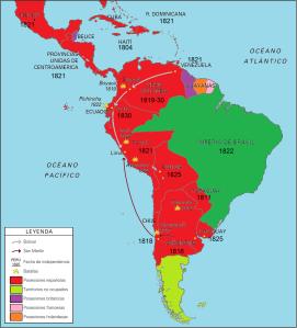 La unidad de Hispanoamérica (en color rolo en el mapa) se resquebrajó con las guerras de independencia.