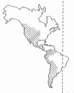 """Miranda define así los límites geográficos de Hispanoamérica: """"""""en la parte norte, la línea que pase por el medio río Mississippi desde la desembocadura hasta la cabecera del mismo y partiendo de ella siguiendo la misma línea recta en dirección del oeste por el 45° de latitud septentrional hasta unirse con el mar Pacífico. Al oeste, el Océano Pacífico desde el punto arriba señalado hasta el Cabo de Hornos incluyendo las islas que se encuentran a diez grados de distancia de dicha costa. Al este, el Océano Atlántico desde el Cabo de Hornos hasta el golfo de México y desde allí hasta la desembocadura del río Mississippi. No están comprendidas en estas demarcaciones Brasil y Guayana"""""""