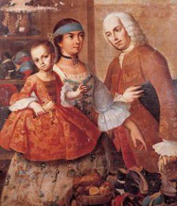 Representación del mestizaje en la América hispana en un cuadro de Miguel Cabrera de 1763 (Museo de América, Madrid).