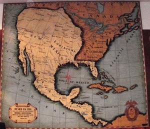 Mapa de México en 1794, que se exhibe en el Salón Principal de la Sociedad Mexicana de Geografía y Estadística. La fragmentación de Hispanoamérica tras la independencia provocó que un débil México perdiera la mayor parte de su territorio ante el empuje arrollador de Estados Unidos.