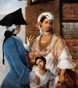 Miguel Cabrera represntó ampliamente en su pintura el mestizaje en la América hispana. Esta imagen representa a un español casado con una indígena y su hijo (finales del siglo XVIII).