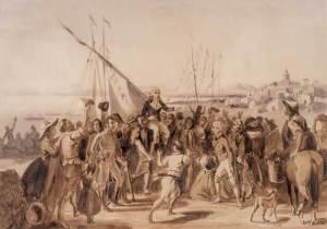 Recibimiento de Miranda en la Guaira, el 13 de diciembre de 1810, según una ilsutración de Johann Rugendas (siglo XIX).