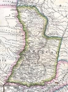 """Mapa de Paraguay 1875, """"Mapa Original de la Republica Argentina y Estados Adyacentes Comprendiendo Las Republicas Chile, Paraguay y Uruguay""""."""