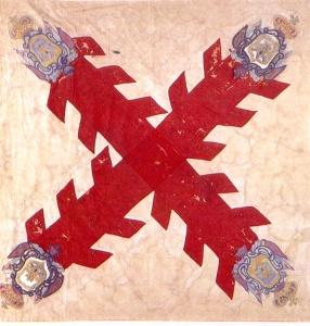 Pendón con el Aspa de Borgoña representando la Cruz de San Andrés, rematada con cuatro escudos, dos leones y dos castillos. Imagen tomada del Catálogo de la Colección de Banderas, Museo Nacional de Historia, INAH, México. Es el símbolo vexilológico más utilizado durante toda la época indiana (siglos XVI, XVII y XVIII).